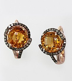 Effy® Citrine and Brown .27 ct. t.w. Diamond Earrings in 14K Rose Gold