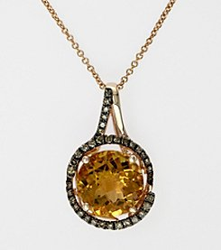 Effy® Citrine and Brown .18 ct. t.w. Diamond Pendant in 14K Rose Gold