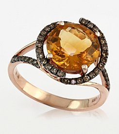 Effy® Citrine and Brown .27 ct. t.w. Diamond Ring 14K in Rose Gold