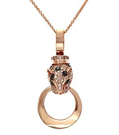 Effy® Signature Collection Black and White .40 ct. t.w. Diamond & .01 ct. t.w. Emerald Panther Pendant in 14K Rose Gold
