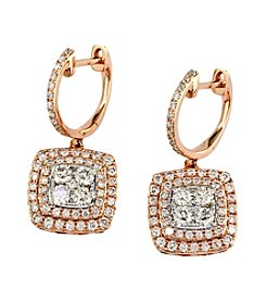 Effy® 1.29 ct. t.w. Diamond Earrings in 14K White Gold/Rose Gold