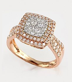 Effy® .75 ct. t.w. Diamond Ring in 14K White Gold/Rose Gold