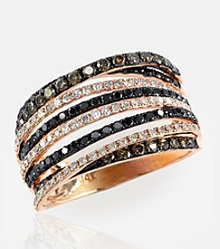 Effy® Black, Brown and White Diamond 1.08 ct. t.w. Ring in 14K Rose Gold