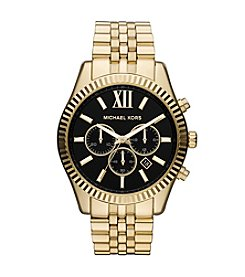 Michael Kors® Goldtone Lexington Watch with Black Dial