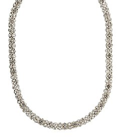 Anne Klein® Silvertone Pave Necklace