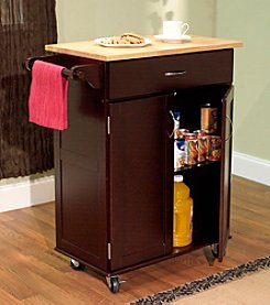 Target Marketing Systems Kitchen Cart Wood Top