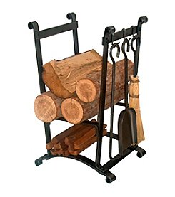 Enclume Compact Curved Wood Rack with Fireplace Tools