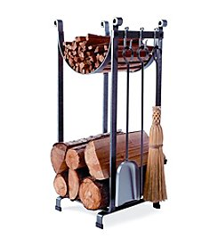 Enclume Sling Wood Rack with Bar and Fireplace Tools