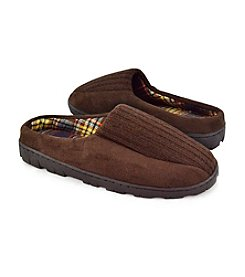 MUK LUKS® Men's Brown Ribbed Scuff Slippers with Berber Lining