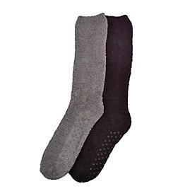 MUK LUKS Men's 2-Pack Black/Gray Knee High Micro Chenille Socks