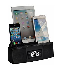 Dok 3-Port Smart Phone Charger with Speaker Phone, Alarm, Clock and FM Radio