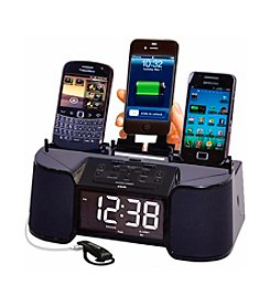 Dok 4-Port Smart Phone Charger with Speaker, Alarm Clock and FM Radio