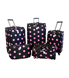 Jenni Chan Black and Pink Dots 5-pc. Luggage Set