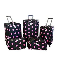 Jenni Chan Black and Pink Dots 5-pc. Luggage Set