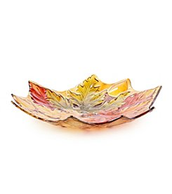 Transpac Art Fall Leaf Glass Platter