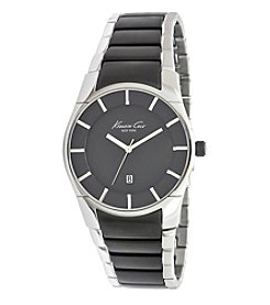 Kenneth Cole New York® Men's Ultra Slim Watch with Two Tone Gunmetal and Silvertone Bracelet