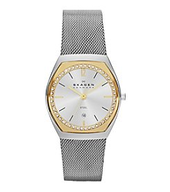 Skagen Denmark Women's Silvertone Mesh Watch with Austrian Crystal Bezel Under Glass