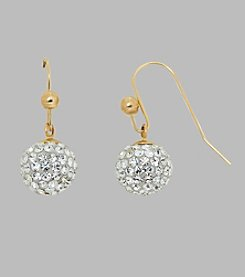 14K Yellow Gold Crystal Ball Drop Earrings on a Ball Ear Wire