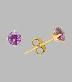 14K Yellow Gold 4mm Amethyst Stud Earrings