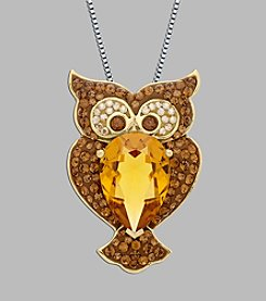 Impressions® Crystal Owl Pendant in Sterling Silver