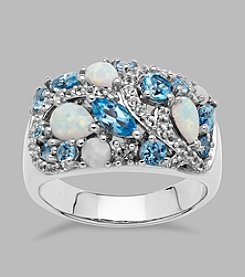 Created Opal, Blue and White Topaz Ring in Sterling Silver