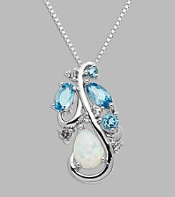 Created Opal, Blue and White Topaz Pendant in Sterling Silver