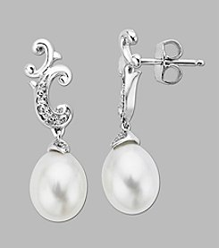 Fresh Water Pearl and .03 ct. t.w. Diamond Earrings in Sterling Silver