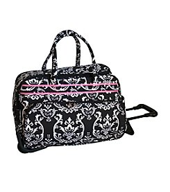 Jenni Chan Damask Black and Pink Soft Carryall Duffel