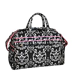 Jenni Chan Damask Black and Pink Duffel