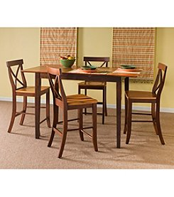 International Concepts 5-pc. Cinnamon & Espresso Counter Height Dining Collection