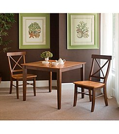 International Concepts 3-pc. Cinnamon & Espresso Dining Set