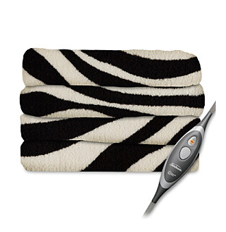 microplush zebra black heated throw