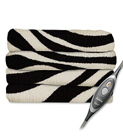 SlumberRest MicroPlush Zebra Black Heated Throw