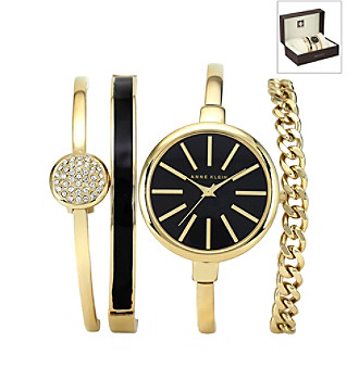 Anne Klein® Women's Goldtone Black Bangle Watch Set