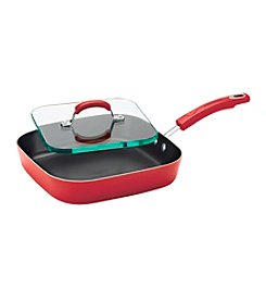 "Rachael Ray® 11"" Red Hard Enamel Nonstick Square Deep Griddle and Glass Press"