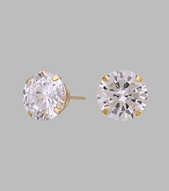 14K Yellow Gold 8mm Cubic Zirconia Stud Earrings