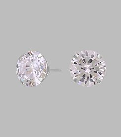 14K White Gold 8mm Cubic Zirconia Stud Earrings