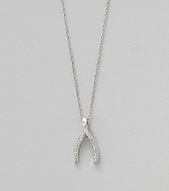 Designs by FMC Sterling Silver Cubic Zirconia Pave Wishbone 18