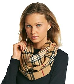 V. Fraas Cashmink® Fraas Plaid Infinity Loop with Metallic