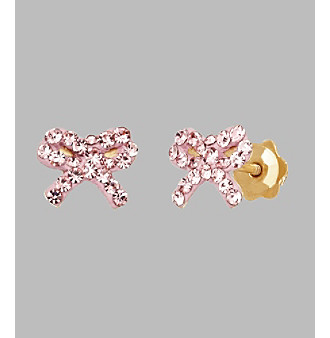 14K Yellow Gold Rose Crystal Bow Baby Stud Earrings