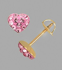 14K Yellow Gold Rose Crystal Heart Baby Stud Earrings