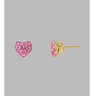 14K Yellow Gold Rose Crystal Heart Stud Earrings
