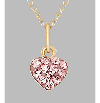 """14K Yellow Gold Rose Crystal Heart Baby Pendant 13"""""""