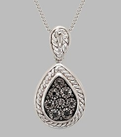 Sterling Silver Teardrop with Black Diamonds .05 ct. t.w. Pendant