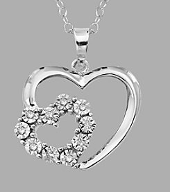 Sterling Silver Double Heart .05 ct. t.w. Diamond Pendant