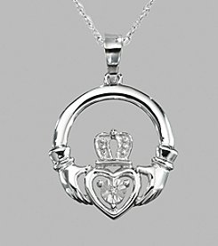 Sterling Silver Claddagh .012 ct. t.w. Diamond Pendant