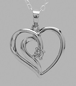 Sterling Silver Polished Open Heart .01 ct. t.w. Diamond Pendant