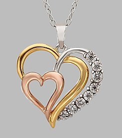 Gold over Sterling Silver Tri-Color Triple Heart .03 ct. t.w. Diamond Pendant