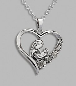 Sterling Silver Mother with Baby .09 ct. t.w. Diamond Pendant