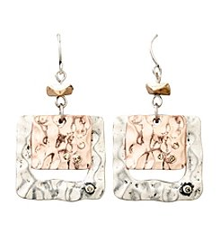Laura Ashley® Tri-Tone Square Drop Earrings